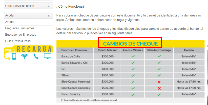 Tipos de cheques Servipag