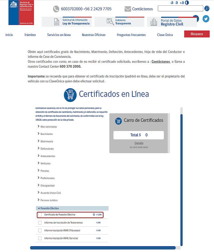 Certificado de posesión efectiva