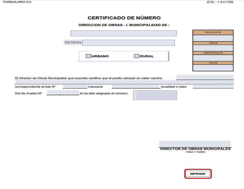 Formulario certificado de número