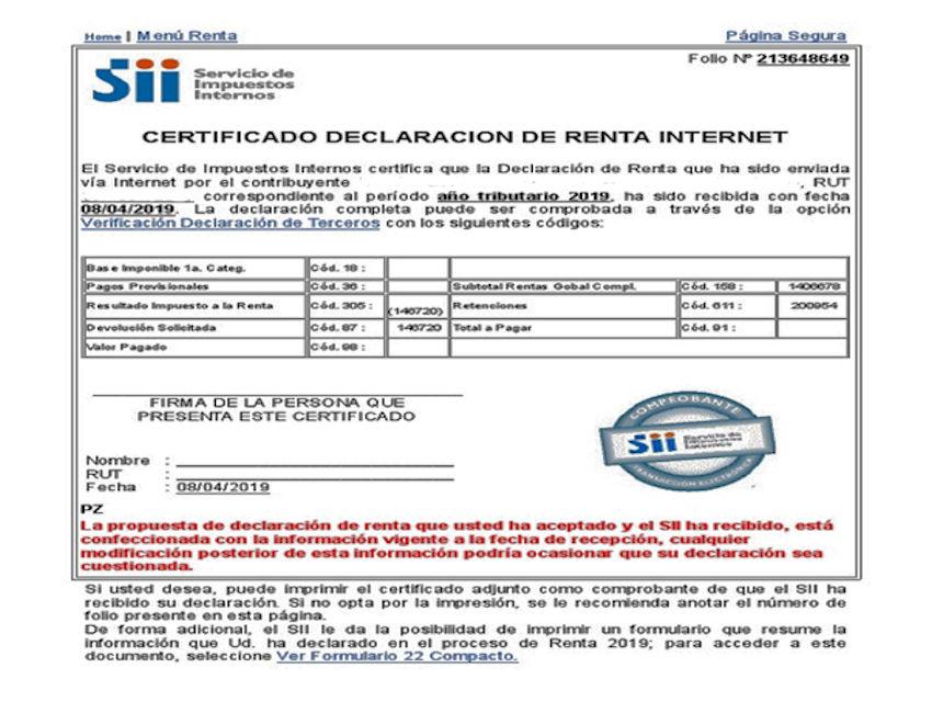 Certificado de renta