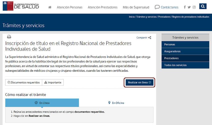 Inscripción en el Registro Nacional de Prestadores Individuales de Salud